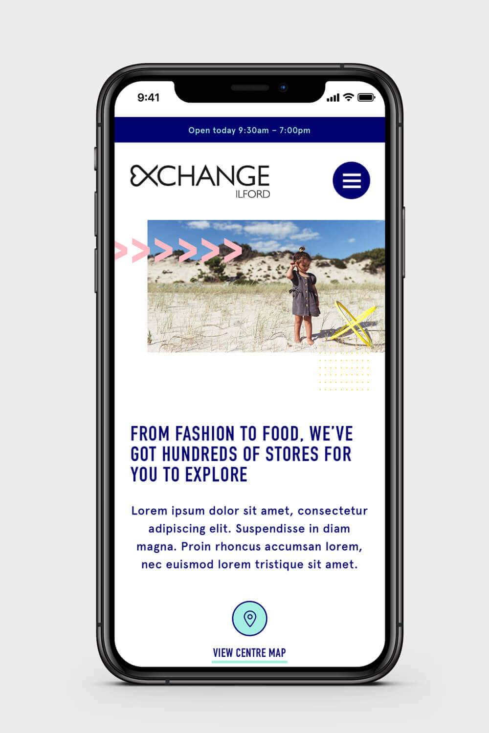 iPhone mockup of the Ilford Exchange website showing the stores page